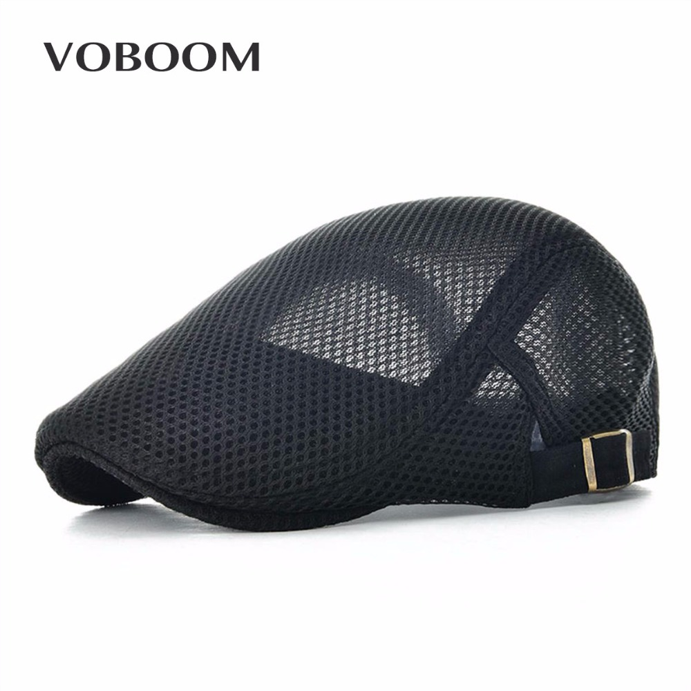 VOBOOM Summer Men Women Casual Beret Hat Ivy Flat Cap Cabbie Newsboy Style Gatsby Hat Adjustable Breathable Boina Mesh Caps 124(China)