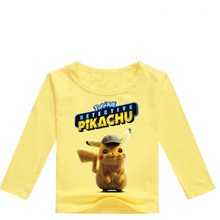 Z&Y 2-16Y 2019 Pokemon Tshirt Detective Pikachu T Shirts Kids T-shirt Fashion Boys Tshirts Toddler Girl Long Sleeve Top Clothes