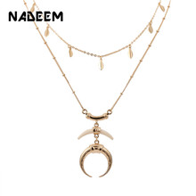 цены New 2Pcs/Sets Choker Necklace for Women Gold Horn Moon Pendant Chain Necklaces Sets Leaf Chain Couple Necklace Sets Jewelry