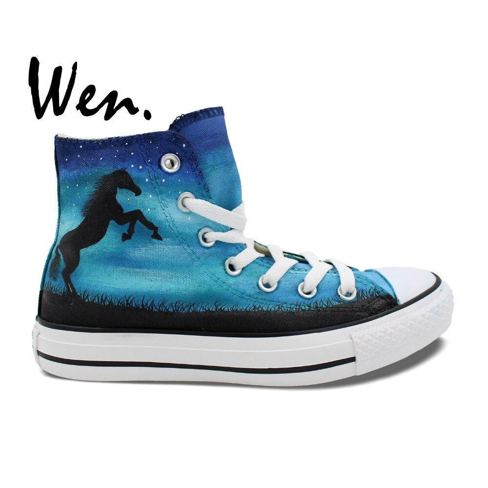 Prix pour Wen Design Original Personnalisé Peint À La Main Chaussures Cheval Nébuleuse Bleu High Top Hommes Femmes de Toile Sneakers De Noël Cadeaux