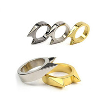 FGHGF 1pc self-defence stainless steel safety survival finger ring self defence outdoor EDC weapon tool self defence ring