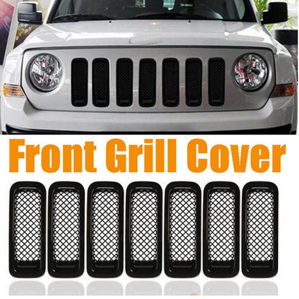 Chuang Qian 7Pcs Front Mesh Grill Grille Guard Insert Trim Kit For Jeep Patriot 2011-2016 Black ABS Auto Car Accessories luo qian black 41