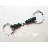 Stainless Steel Ring Snaffle Bit Rubber Mouth H0817