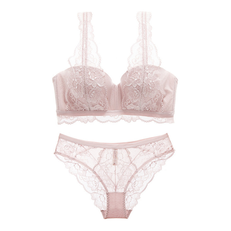 Varsbaby women's sexy full floral lace push up lingerie set underwire breathable bra and panties set