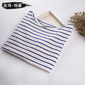 Slit neckline three quarter sleeve stripe t-shirt women's 100% cotton loose plus size tops long sleeve basic navy style shirt