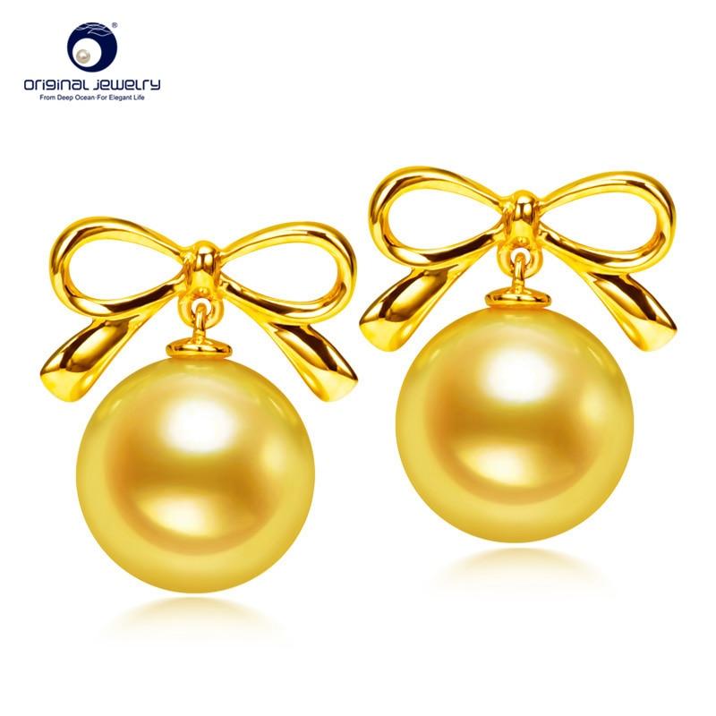 YS 18 k massivt guld 7,5-8 mm äkta japanska Akoya pärla örhängen - Fina smycken