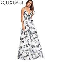 QIUXUAN Criss Cross Back High Waist Women Dress 2018 Summer Sexy Deep V Printed Maxi Dress