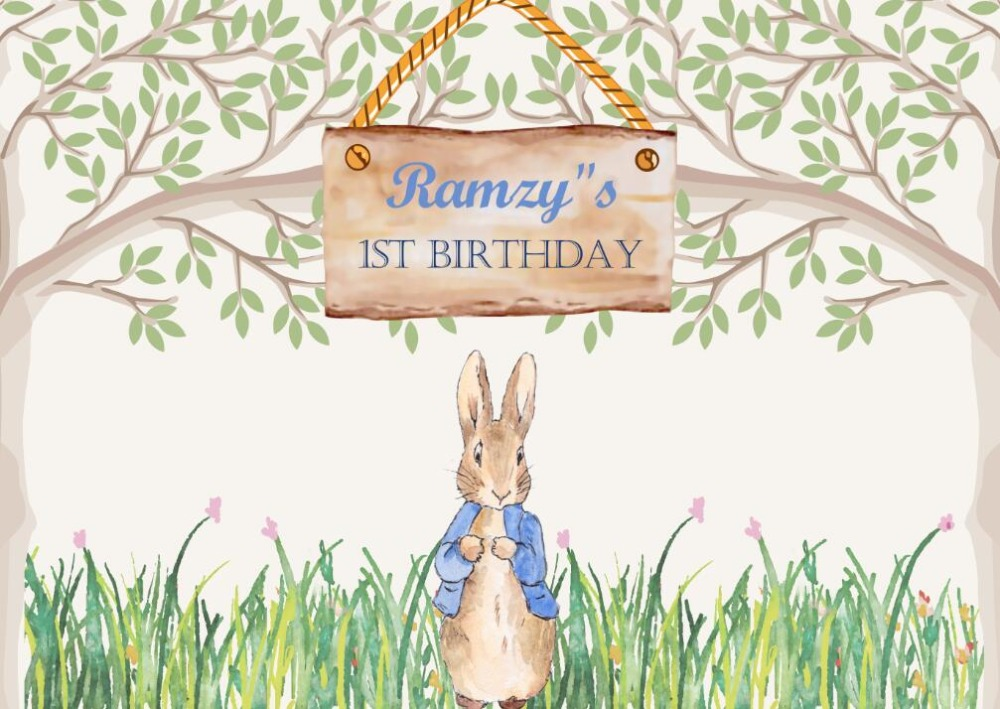 custom peter rabbit birthday baby shower tree flower grass backdrops High quality Computer print party background 600cm 300cm mini baby child photography balloon flower tree background one hundred days baby photos lk 3979