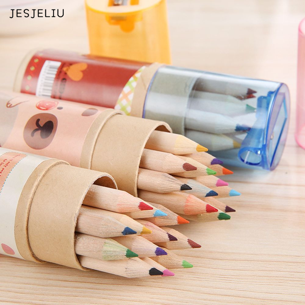 12 Pcs / Pack Lovely Bear Cartoon Mini Colored Pencil New Ks Wooden Painting Colored Pencils assorted cartoon pencils 5 pack