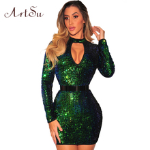 ArtSu Fashion Sexy Sequins Long Sleeve Bodycon Dress Party Vestido De Festa 2018 Winter Women Cut Out Skinny Dreses ASDR30577(China)
