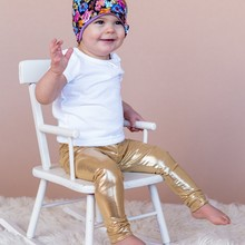 0192eeb4fe68b Baby Leggings Pants Autumn Winter Fashion Gold Leather Infant Leggings  Newborn Boy Pants Baby Girl Clothing