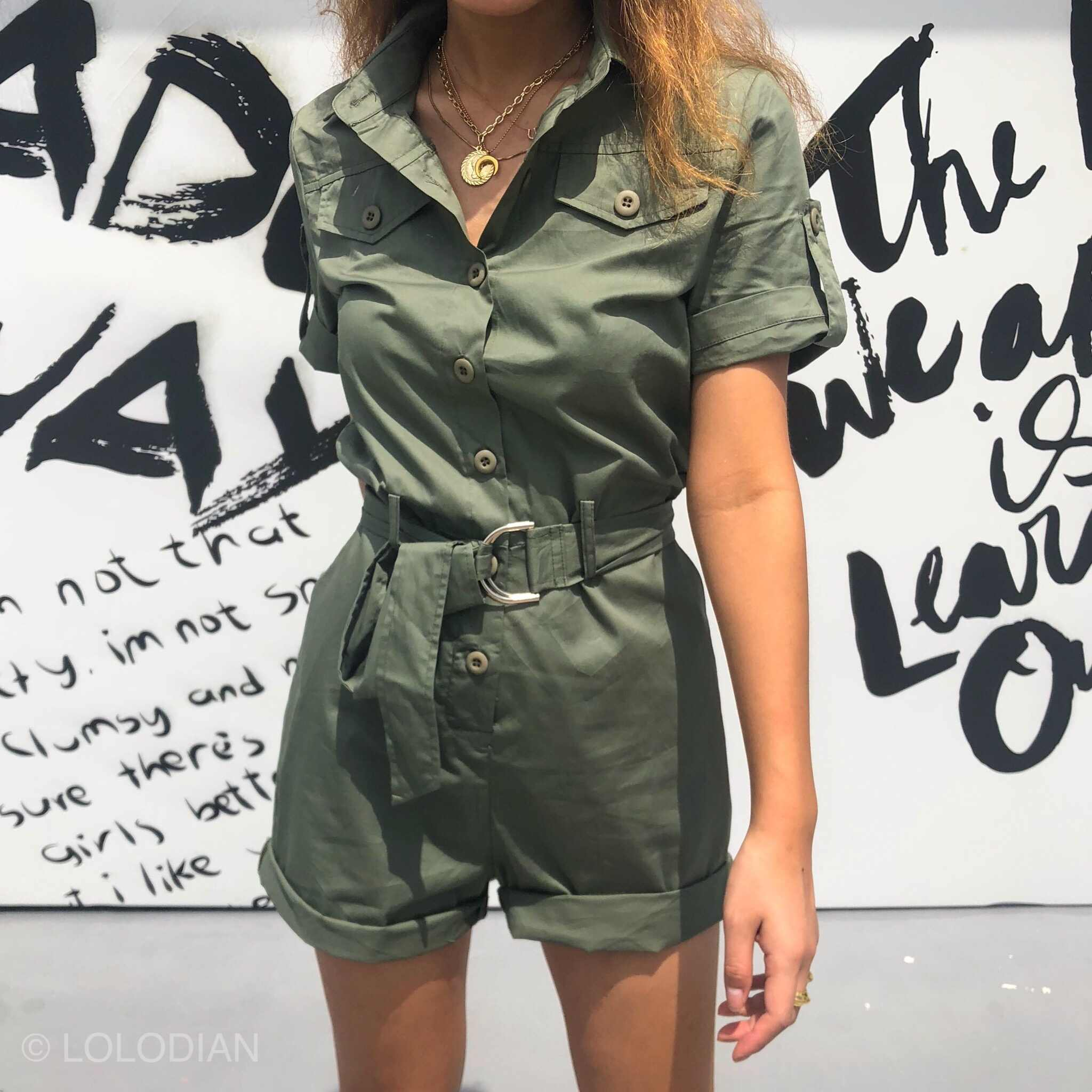 Vrouwen Casual Zomer Groene Romper met Sjerpen Hoge Taille Algehele Jumpers Pocket Belted Cargo Shorts Jumpsuit Playsuit Bodysuits