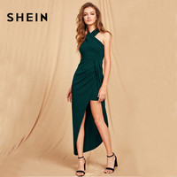 SHEIN Green Maxi Christmas Dress Halterneck Crisscross Front Sexy Club Wear Party Dress Women Sleeveless Asymmetrical