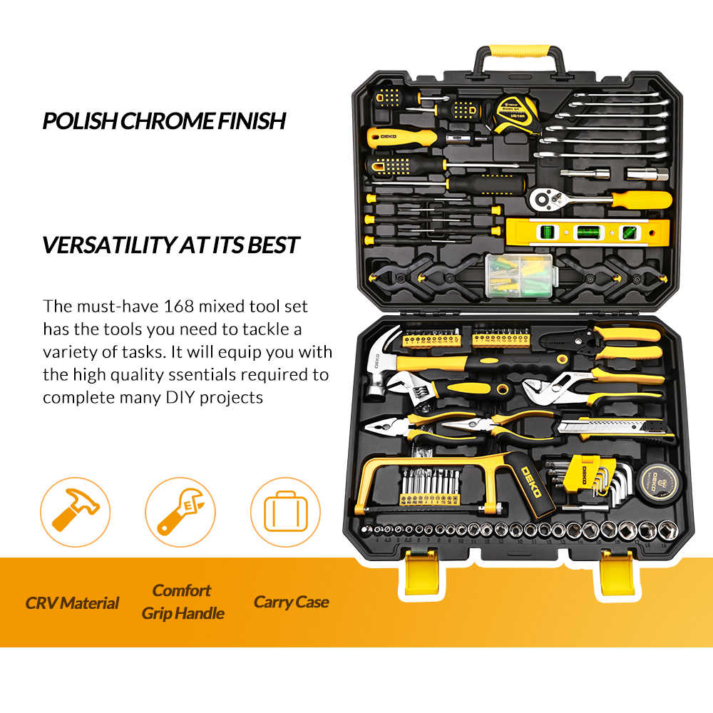 DEKO ハンドツールセットの一般的な家庭用修理ハンドツールキットとプラスチックの収納ケースソケットレンチドライバーナイフ