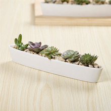 Simple white ceramic porcelain pottery Novel Mini desktop type Zakka Long Ship Shape flower pot planter container garden bonsai