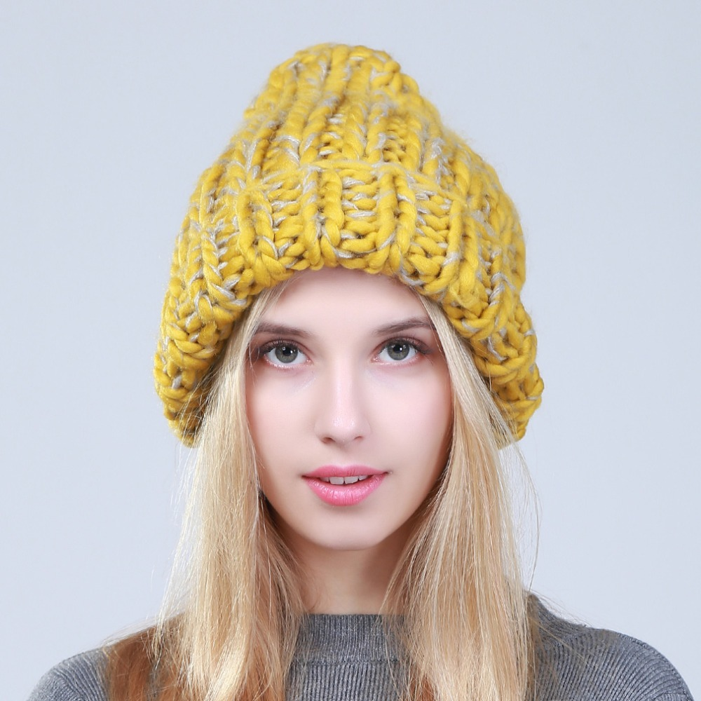 Geebro 2019 Female Winter Warm Mixed Color Beanies Handmade Thick Stick Knitted Coarse Lines Hat Crochet Women Lovely Caps 3