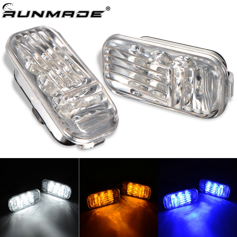 Runmade 1Pair Clear Direct Lens LED Side Marker Lights For