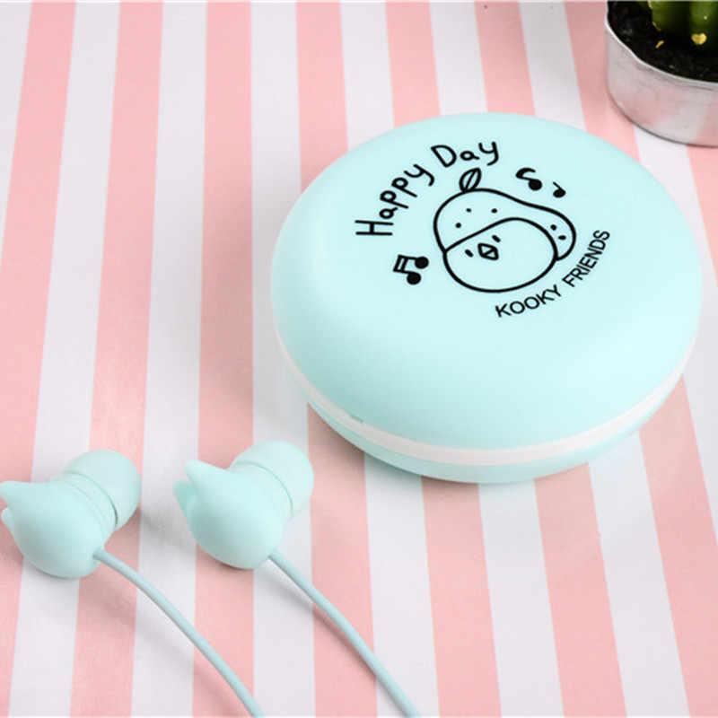 かわいい猫イヤホン 3.5 ミリメートルかわいい漫画の音楽耳栓マイクと収納ボックス Iphone Xiaomi MP3 ベビーキッズ女の子のギフト