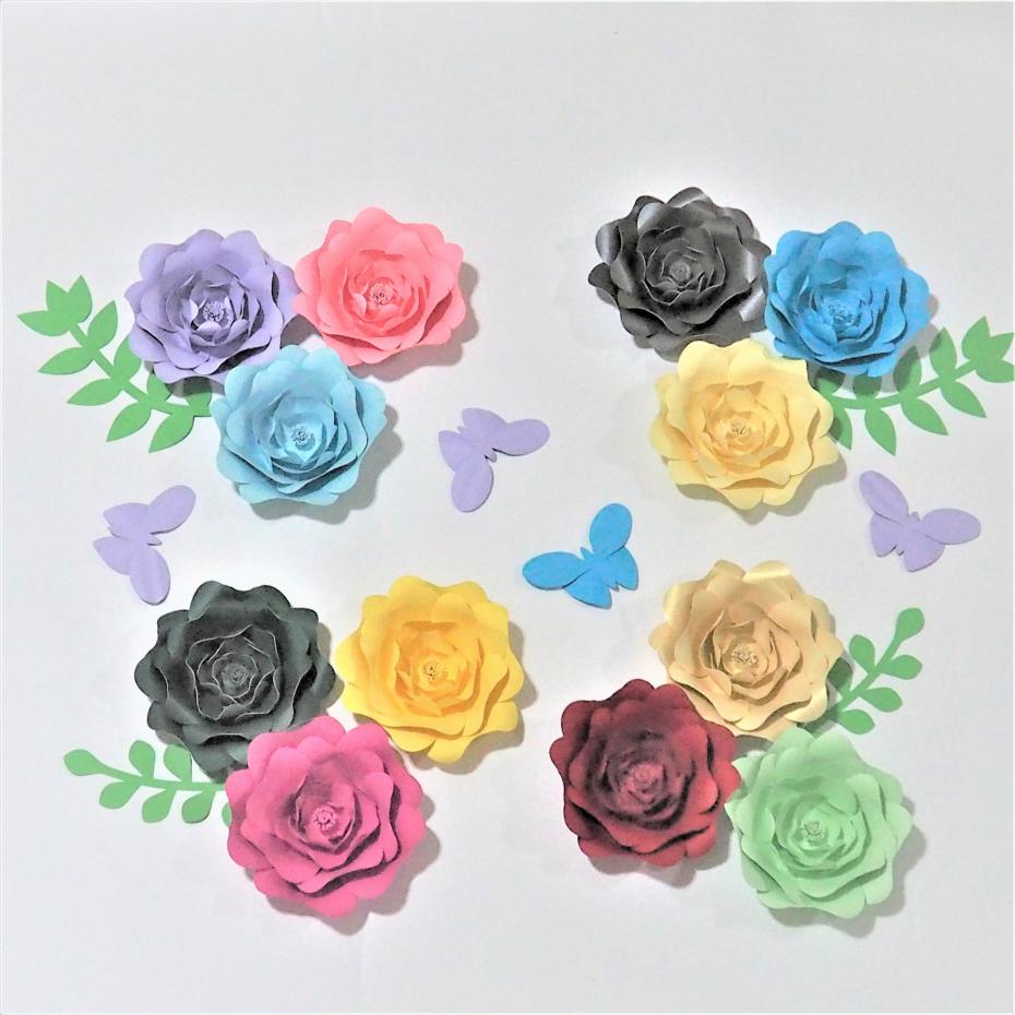 2018 Set Of 12 Giant Paper Flowers4pcs Leaves4pcs Butterfly