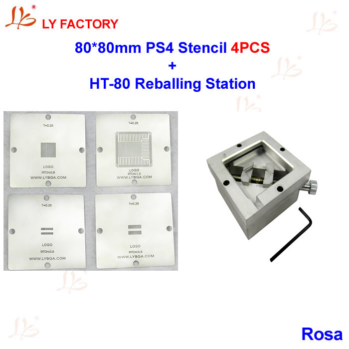 80mm PS4 Stencils + HT80 Reablling Station BGA Reballing Kit ангельские глазки 80 mm