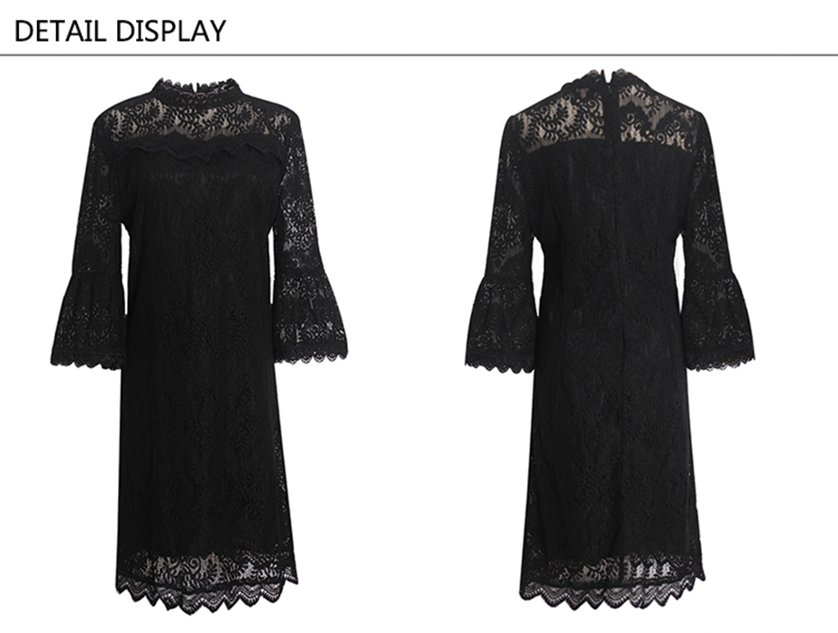 Elegant Black Hollowed Up Lace Flare Sleeve Collar Zipper Fly Dress