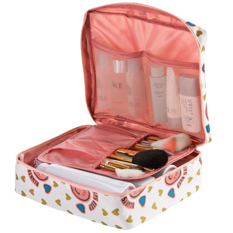 Neceser Women Cosmetic Bag Portable Toiletry Multifunction Organizer Waterproof Makeup Bag Travel Zipper Makeup Beauty Storage