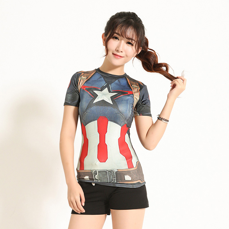 2f375f59 High Quality Women T-shirt Bodys Armour Marvel Captain  America/superman/spiderman Compression T Shirt Girl Under Fitness Tights
