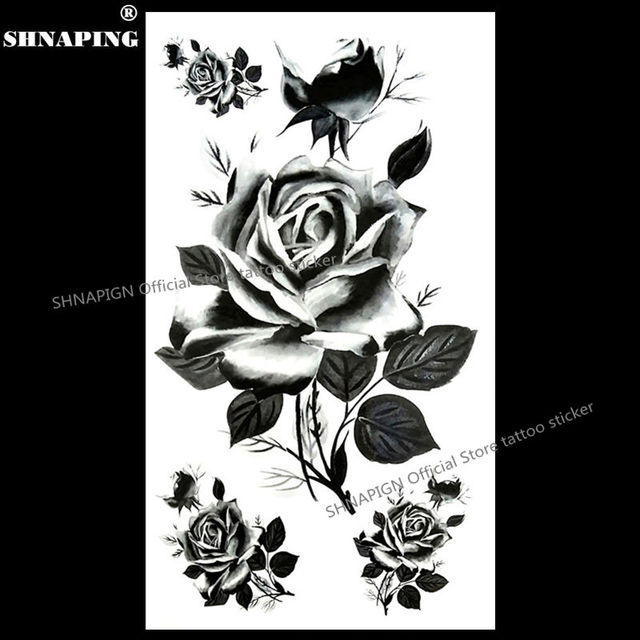 SHNAPIGN Black France Roses Temporary Tattoo Body Art Arm Flash Tattoo Stickers 17x10cm Waterproof Fake Henna Painless Sticker
