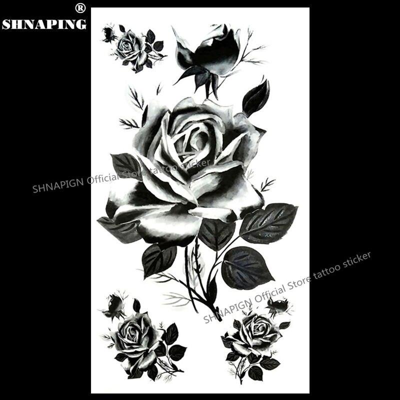 SHNAPIGN Black France Roses Temporary Tattoo Body Art Arm Flash Tattoo Stickers 17*10cm Waterproof Fake Henna Painless Sticker