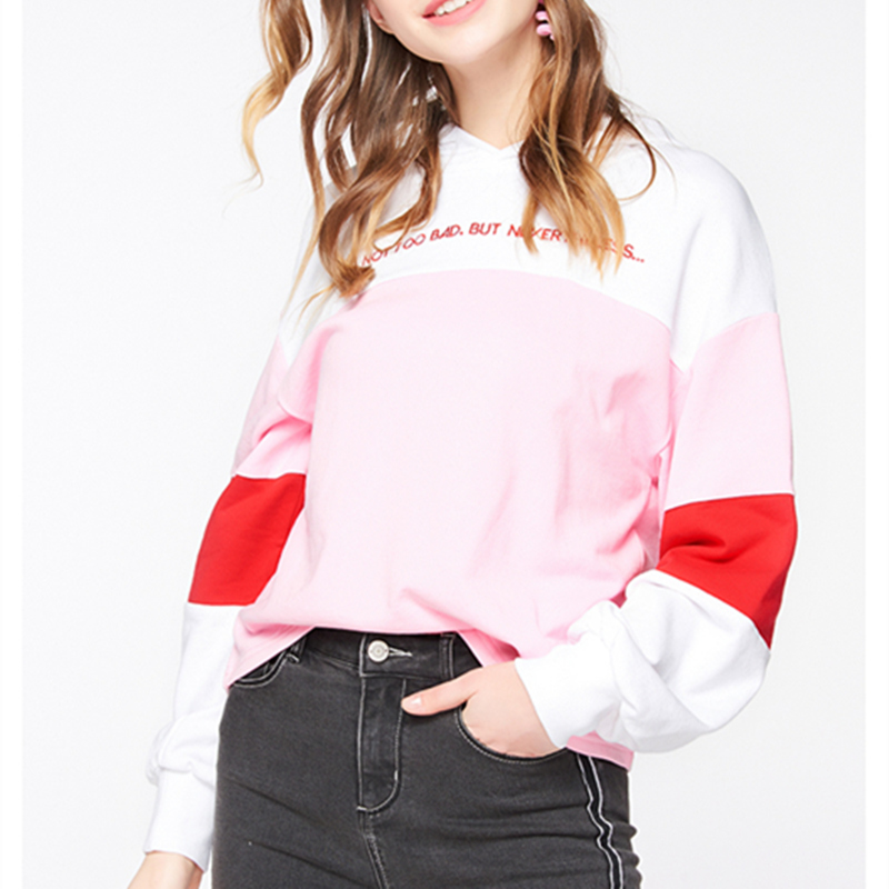 Hoodies Show shoulder Harajuku Autumn Fashion Sweatshirts Drop Comfortable Prints Patchwork As Spring Letter Women Zx742 Hooded Casual SwOOa