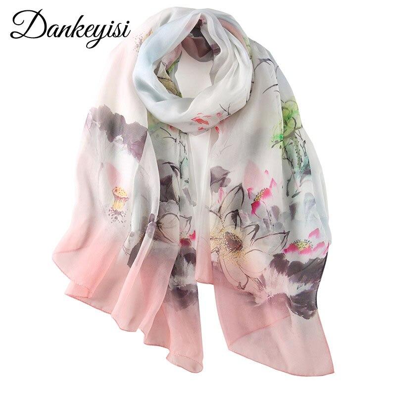 [DANKEYISI] Brand Designer Women Scarves 100% Silk Scarf Luxury High-grade Silk Scarves, Shawl,Hijab Floral Printed Long Scarves scarves to crochet