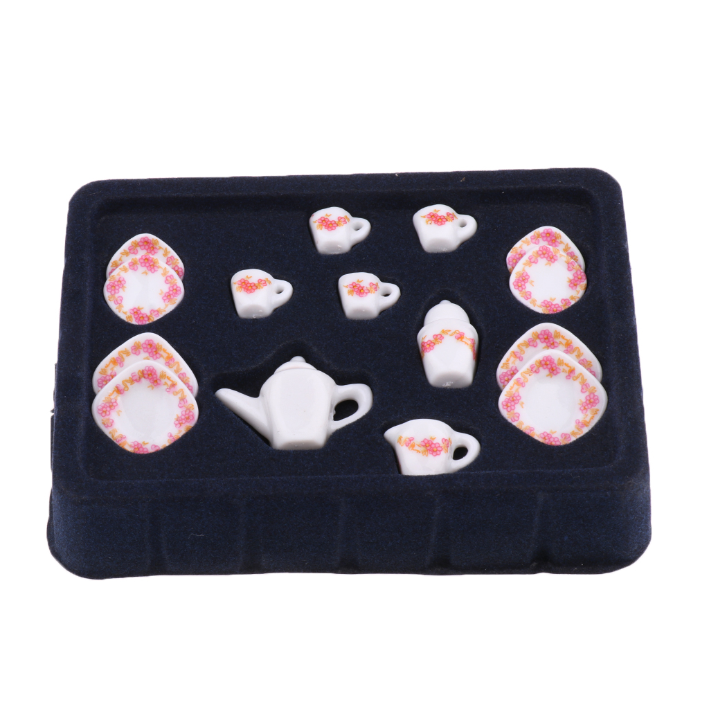 15pcs 1/12 Dollhouse Miniature Dining Ware Porcelain Tea Set Dish Square Plate Doll House Decor Classic Toy for Children Kids