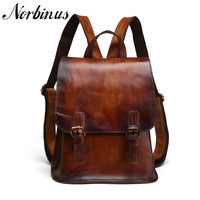 Norbinus Real Leather Women Backpacks Vintage Shoulder Bag School Bags for Teenage Girls Female Genuine Leather Daypack Rucksack