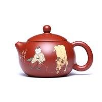 200 мл Исин фиолетовый глина Чай горшок ручной росписью Винтаж Маленький ковбой сырой руды Чёрный чай чайник Книги по искусству Посуда для на