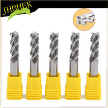 Tungsten steel three-blade aluminum polished end milling cutter 3 blade CNC straight shank  mach