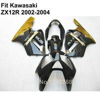 Aftermarket body parts fairings for Kawasaki Ninja ZX12R 2002 2003 2004 gold matte black fairing kit ZX 12R 02 03 04 TY19