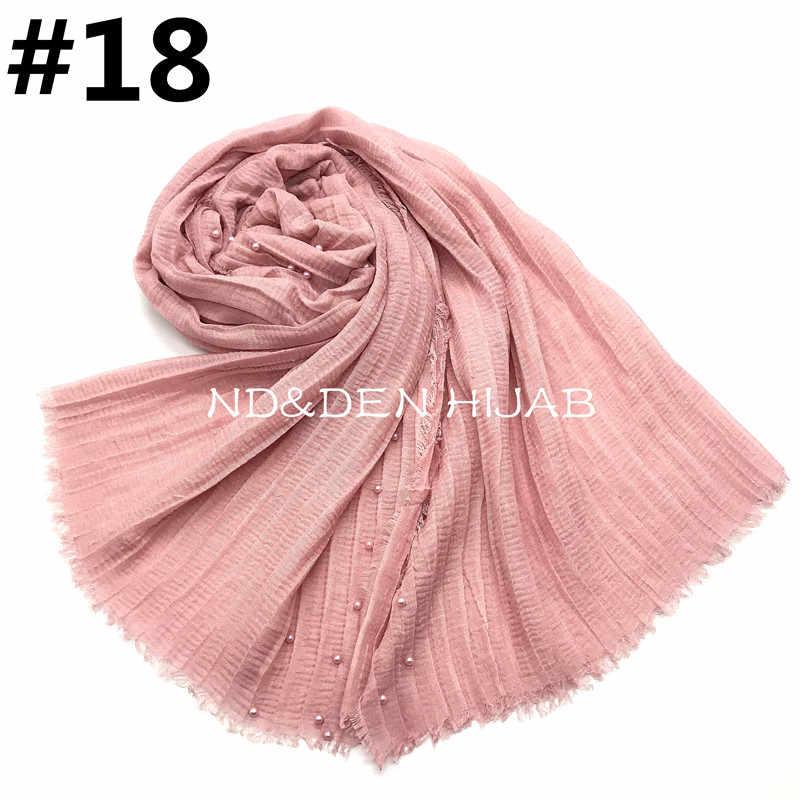 7c4d27b2c17a7 ... NEW plain pleated pearl hijab scarf fashion muslim hijabs long wrinkle women  scarves and shawls islamic