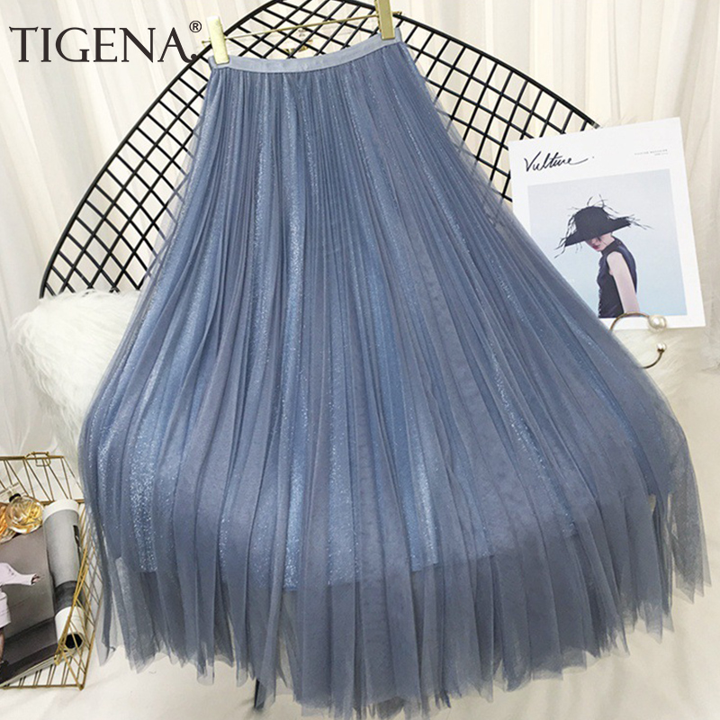 TIGENA Fashion Women Skirts Tulle 2019 Spring Summer Korean Fashion Shiny Long Maxi Pleated Skirt Female Black White Pink Skirt