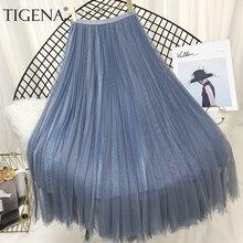Tigena ファッション女性スカート 2020 春夏韓国のファッション光沢のあるロングマキシプリーツスカート女性ブラックホワイトピンクスカート