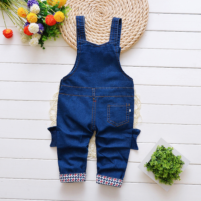 DIIMUU Toddler Baby Boy Cotton Casual Clothes Jeans Overalls Infant Boys Long Pants Children Elastic Waist Child Skinny Trousers in Overalls from Mother Kids