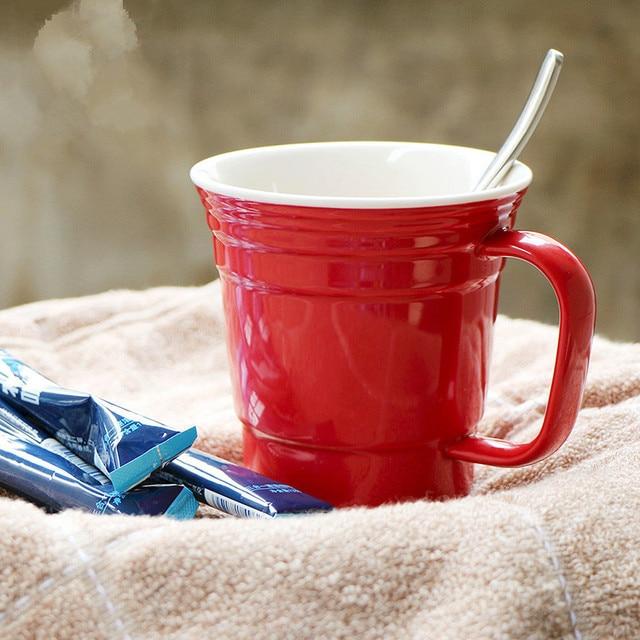 Plain Red Ceramic Coffee Handmade Mug Elegant Travel Mug For Men And