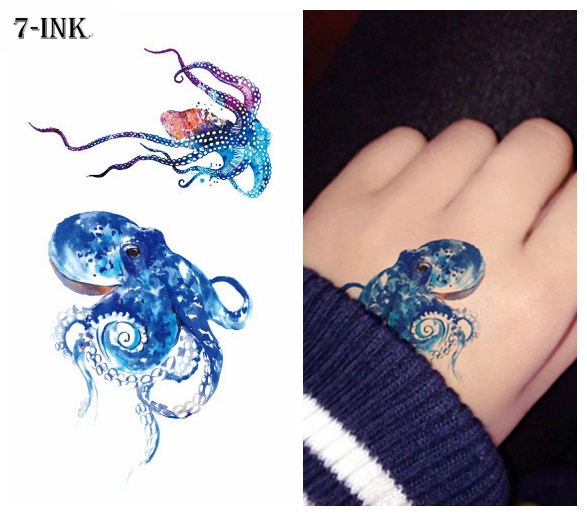 Waterproof Temporary Tattoos Sticker Color Sea Octopus Tattoo Water Transfer Fake Tatto Flash Tatto 10.5*6 Cm For Kid Man Woman