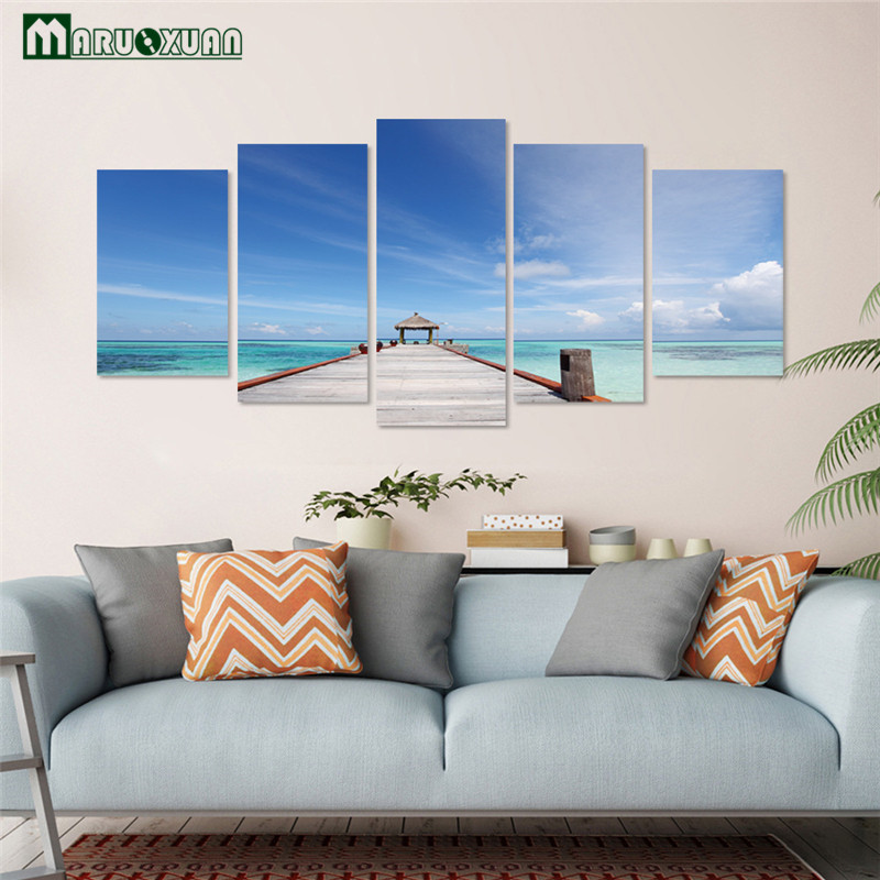 Maruoxuan Новый 3D голубое небо пляж Pier пейзаж декоративные Творческий Диван ТВ Задний план Водонепроницаемый Наклейки на стену 4/5