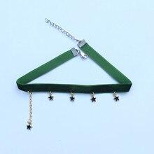 Harajuku Retro Velvet Choker Bohemian Small Stars Clavicle Chain Statement Necklace Women Collier Ras Du Cou Collier Femme