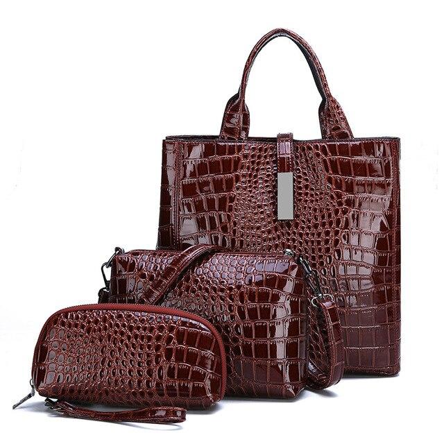 3 قطعة حقائب جلدية التمساح حقائب النساء العلامة التجارية الشهيرة حقيبة كتف الإناث عادية حمل المرأة حقيبة ساعي مجموعة Bolsas الأنثوية