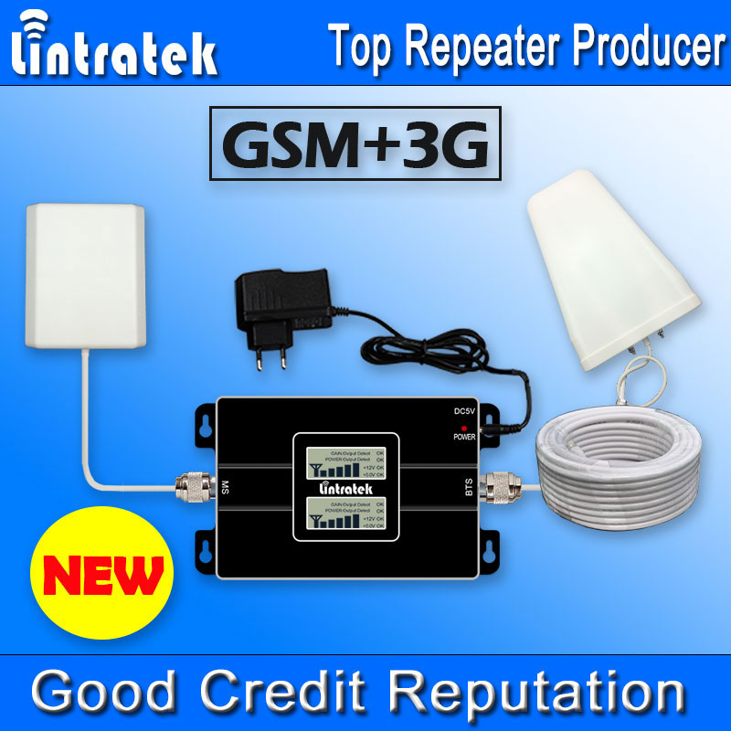 NEW Lintratek LCD Display 2G 3G GSM 900Mhz 2100MHz Dual Band Cell Phones Booster GSM 900 2100 UMTS Mobile Phone Signal Repeater