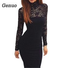 Genuo Sexy Women Lace Dress Turtleneck 2018 Black Patchwork Office Overalls Elegant Party Club Wear
