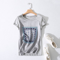 Women Summer Short Cotton Silk Patchwork T Shirt 2017 Fashion Print Tees Casual T Shirt