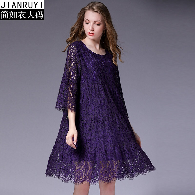2018cLace Dress Elegant Maternity Dresses Loose Pregnancy Cloth Floral Print Ruffles Plus Size XL-5XL Europe Style Purple Dress plus size pleated floral vintage 1950s dress