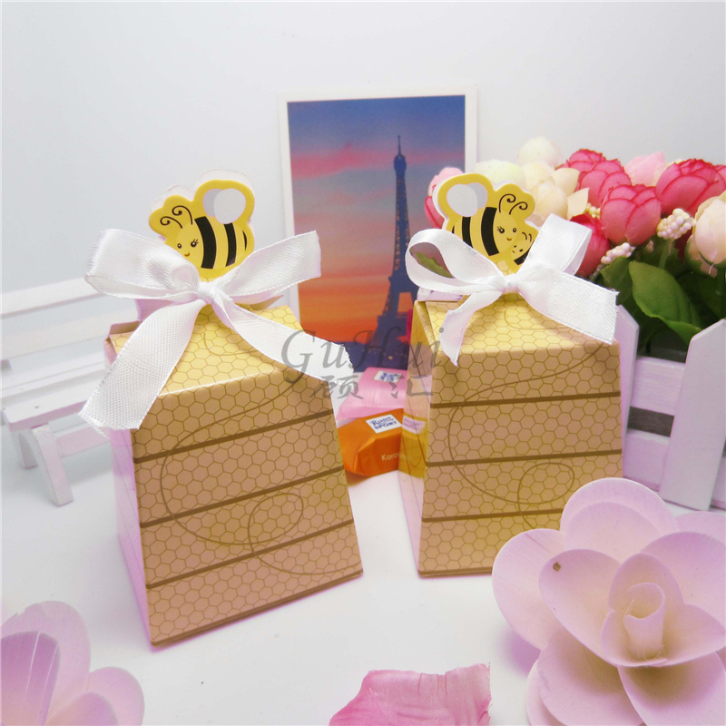 cute small bee honeycomb gift box white ribbon baby shower sugar honey bee wedding candy box - Decorative Gift Boxes